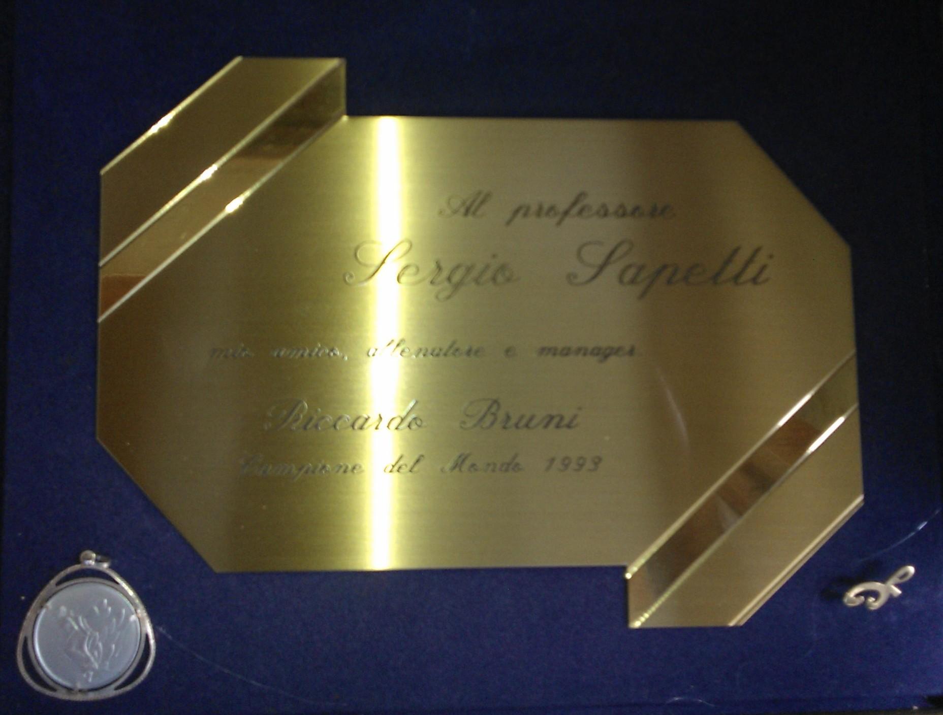 Targa di ringraziamento per la vittoria al Campionato Mondiale di Stenografia 1993