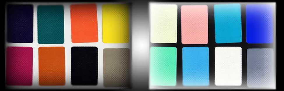Gli 8 colori del Test di Lüscher con a fianco i loro negativi