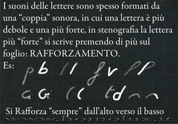 stenografia cima lettere leggere e rafforzate