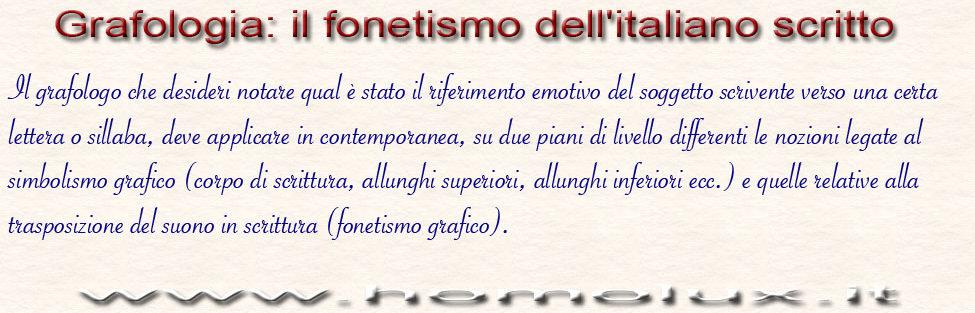 Grafologia: il fonetismo dell'italiano scritto